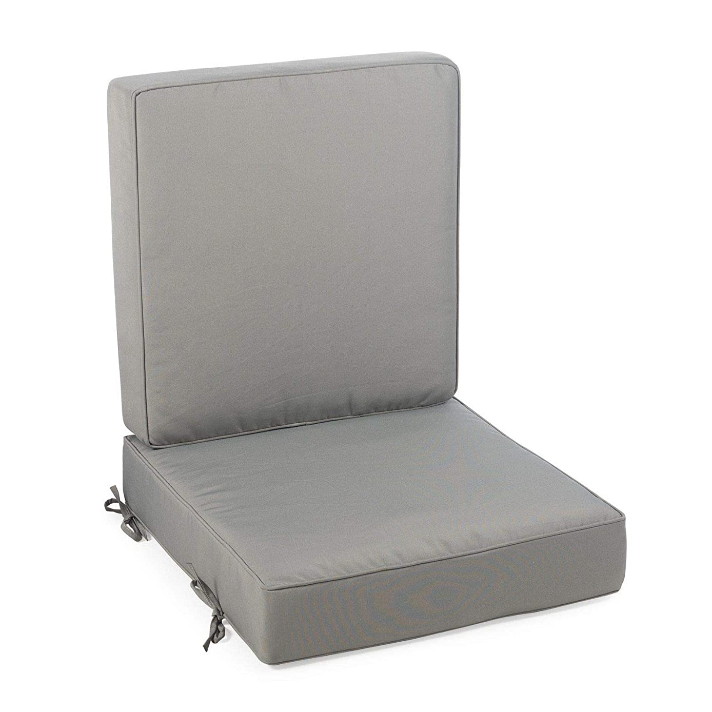 Home Improvements Solid Medium Gray Outdoor Patio Chair Deep Seat Cushion Set Hinged Seat Back
