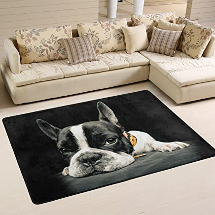 Naanle Alfombra antideslizante para salón, comedor, dormitorio, cocina, 50 x 80 cm, diseño de perro amapola con forma de bulldog francés, multicolor, 60 x 90 cm(2' x 3')