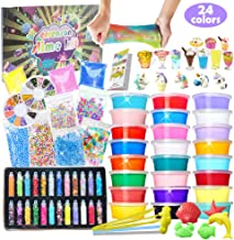 Slime Kit for Girls Boys - DIY Slime Supplies with 24 Colors Crystal Clear Slime, Glitter Powder, Unicorn Slime Charms, Air Dry Clay, Kids Art Craft Toys Gifts for Kids Age 6+ Year Old
