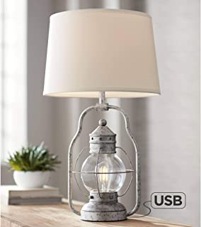 Bodie Rustic Industrial Table Lamp with USB Charging Port Nightlight LED Edison Distressed Silver Off White Linen Shade for Living Room Bedroom Bedside Nightstand Office Family - Franklin Iron Works