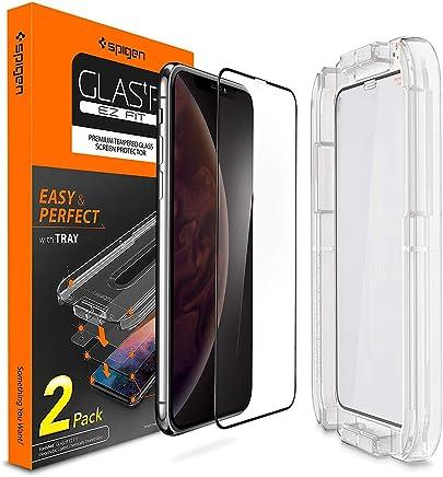 """Spigen, 2 Pièces, Verre Trempé iPhone XS/X (5.8""""), Couverture complète, Kit d'installation Inclus, Premium 9H, Respectueux de la Casse, Compatible Visage ID, EZ FIT Protection écran iPhone X/XS"""