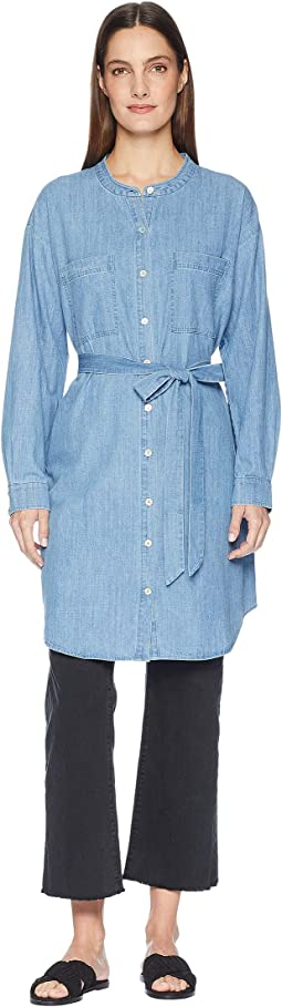 Organic Cotton Drapey Denim Mandarin Collar Shirtdress with Tie
