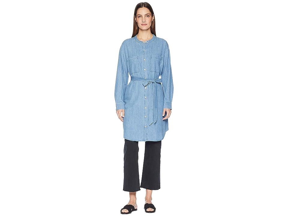 Eileen Fisher Organic Cotton Drapey Denim Mandarin Collar Shirtdress with Tie (Blue Star) Women