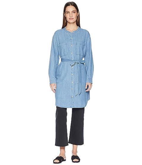 2b0ad0db5f8 Eileen Fisher Organic Cotton Drapey Denim Mandarin Collar Shirtdress with  Tie