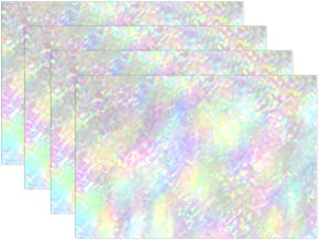 Top Carpenter 4pcs Iridescent Holographic Placemat - 12x18in - Washable Heat Crease Resistant Printed Place Mat for Kitchen Dinner Table by