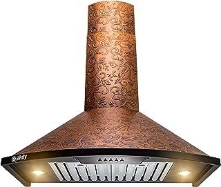"AKDY Wall Mount Range Hood -30"" Embossed Copper Hood Fan for Kitchen - 3-Speed Professional Quiet Motor - Premium Push Control Panel - Dishwasher Safe Baffle Filters (Embossed Copper Vine Design)"