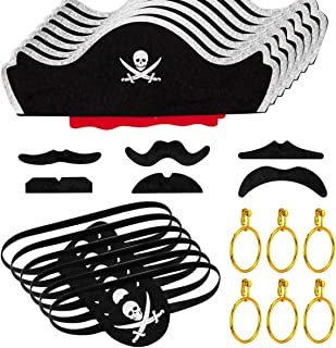 30 Pcs Skull Print Pirate Hat Eye Patches Set, Pirate Clip Earrings and Self-Sticking Moustache for Halloween, Cosplay, Pirate Party Supplies