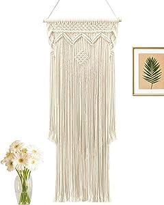 Dicobee Boho Macrame Wall Hanging, Boho Hanging Wall Decor, Woven Wall Art hanging, Chic Macrame Woven Tapestry, Cotton Handmade Home Decor for Wedding Living Room Bedroom Gallery, 15.7