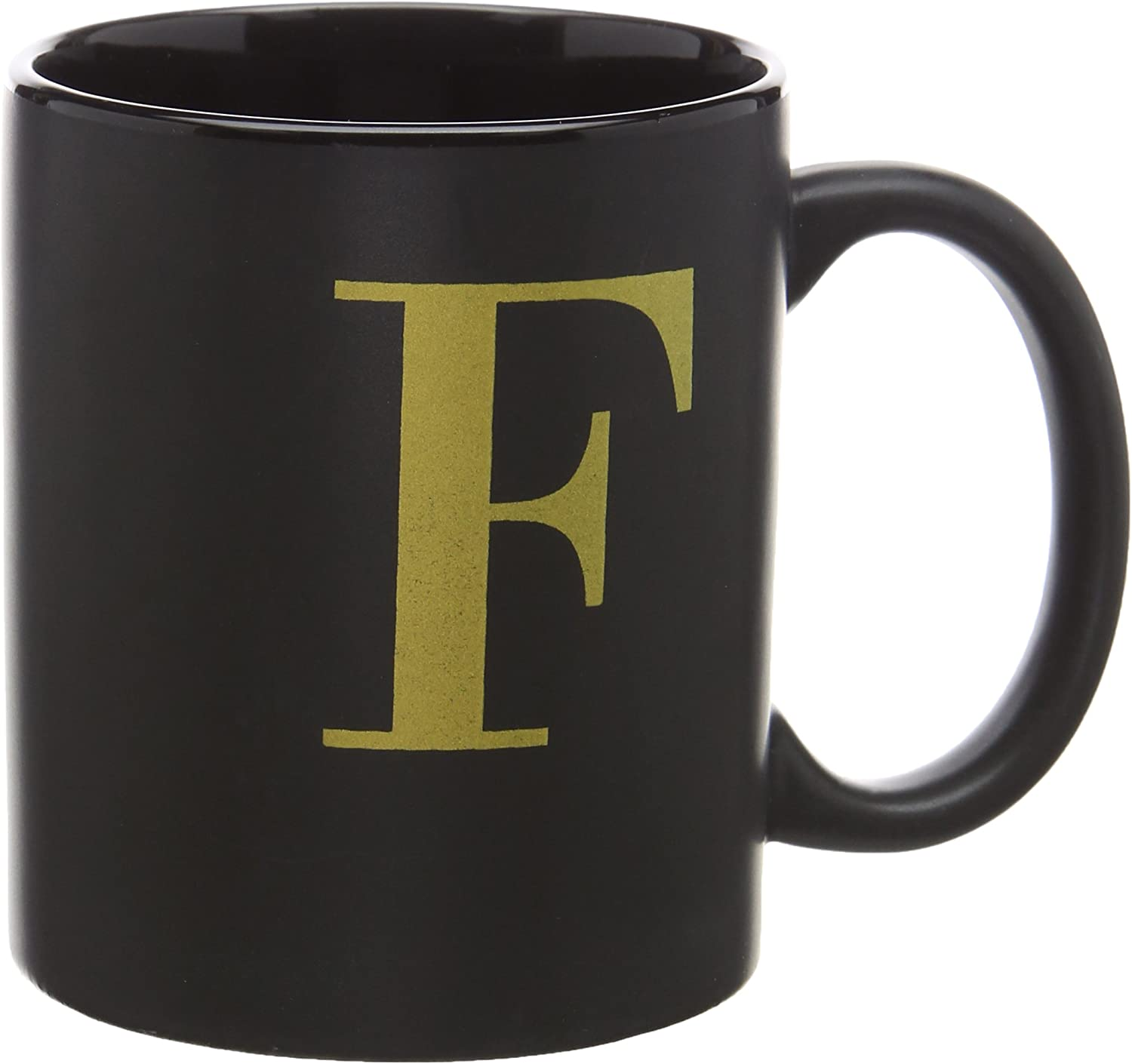 Robert Frederick Black Mug with gold Letter in Box  F, Assorted