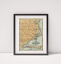 Infinite Photographs 1863 Map of |North Carolina with Part of Virginia & South Carolina|Eastern Carolinas|Title: Colton's