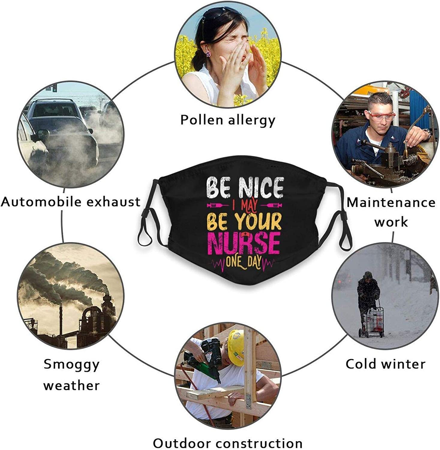Be Nice I Am Your Nurse Somedays Face Mask with 10 Filters, Washable Balaclava Dust Masks Bandanas for Outdoor Sport Dust Sun Wind