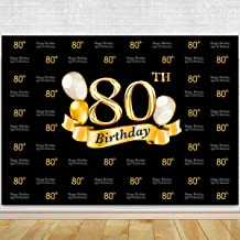 Glitter Gold and Black Photo Studio Booth Background Adult Happy 80th Birthday Party Decorations Banner Backdrops for Photography