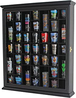 41 Shot Glass Display Case Holder Cabinet Wall Rack with Glass Door (Black Finish)