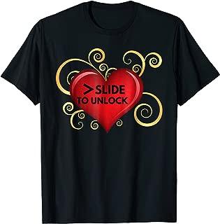 >Slide To Unlock Love T-shirt Heart Tee