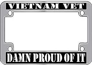 US Armed Forces Military Metal Motorcycle License Plate Frame - Vietnam Veteran & Proud of It