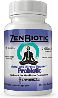 ZenBiotic | Probiotic & Prebiotic | Anxiety & Depression | for Brain, Mood, Digestive and Immune Health – PreforPro Phage Technology and Bacillus Spore Strains - 60 Delayed-Release Capsules