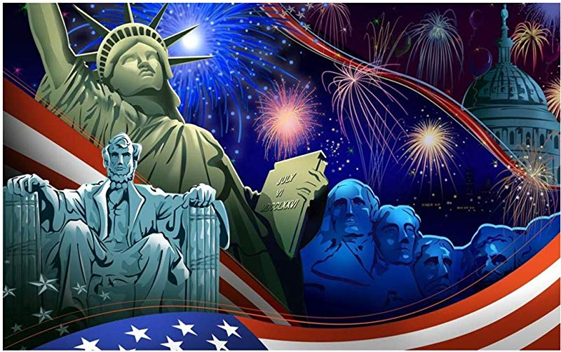 Hstore DIY 5D Diamond Painting Kits Full Drill American Flag Independence Day Celebration 4th Of July Eagle Statue Of Liberty 40x30 Cm 16x12inch