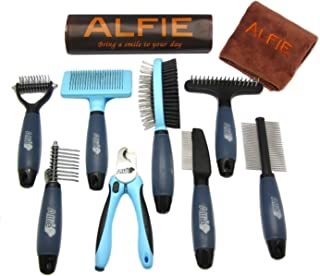 Alfie Pet - Devin 8-Piece Home Grooming Set - Flea Comb, Double Comb, Demat Comb, Mat Breaker, Slicker Brush, Double Brush, Undercoat Rake, Nail Clipper (General Purpose - Ultimate)