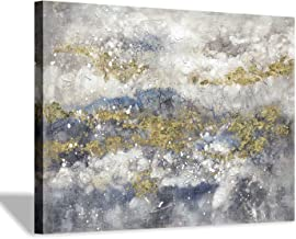 Abstract Modern Canvas Wall Art: Grey & Gold Picture Hand Painted Painting Artwork for Bedrooms