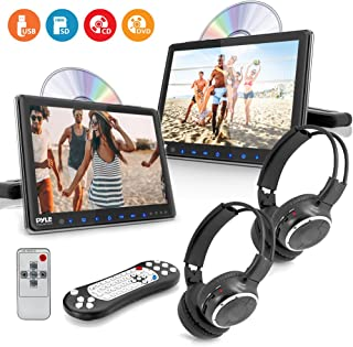 Universal Car Headrest Mount Monitor - 9.4 Inch Vehicle Multimedia CD DVD Player - Dual Audio Video Entertainment w/HDMI, Wide TV LCD Screen, Wireless Headphones & Mounting Bracket - Pyle PLHRDVD90KT,