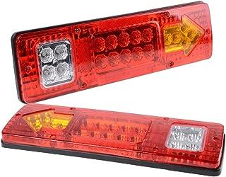 PerfecTech RV 19 LED Trailer Tail Lights Red White-Amber Integrated Turn Signal Running Lamp for ATV Truck (12V)2PCS
