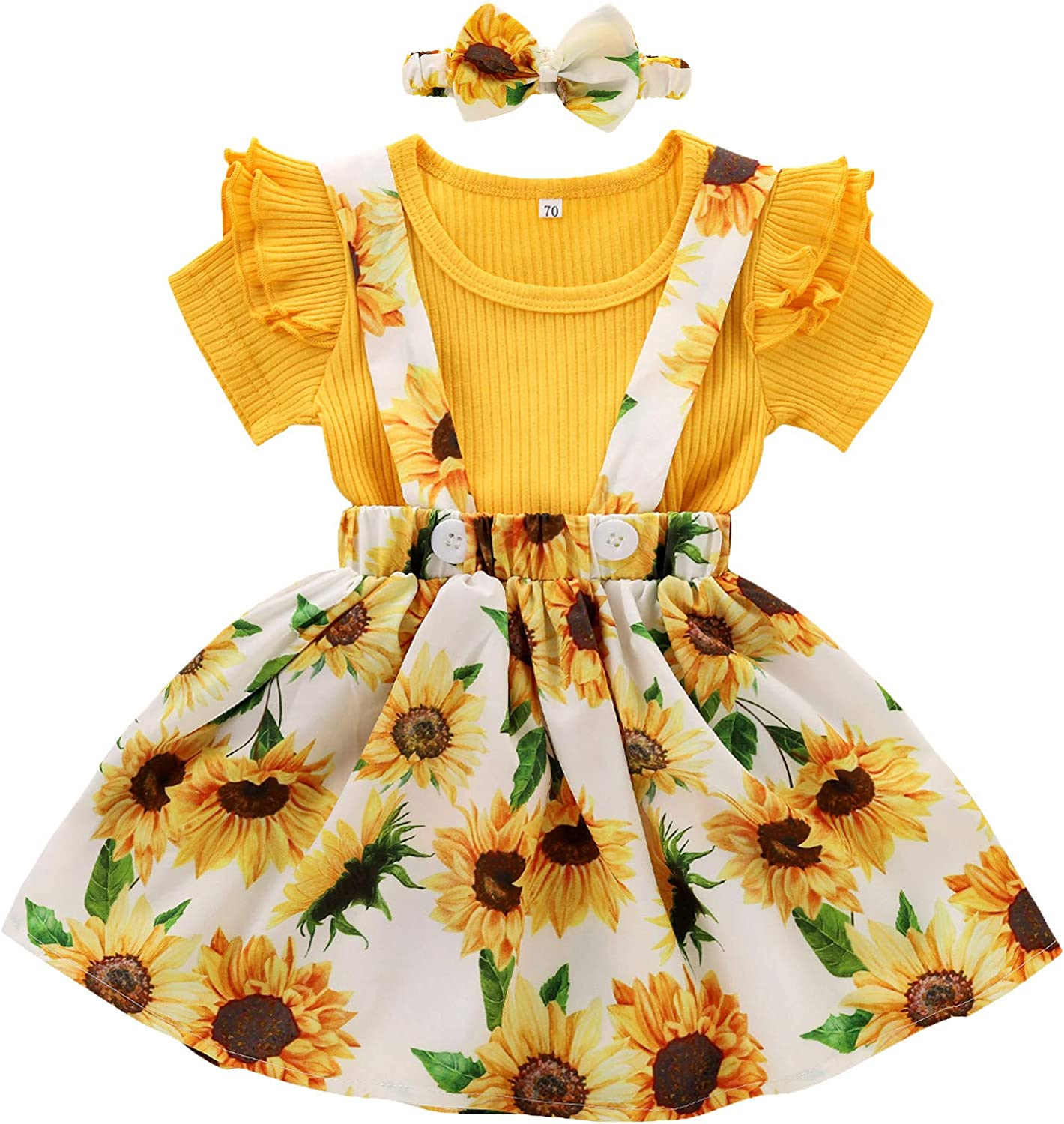 Outstanding Fankle Baby Max 45% OFF Girl Sun Flower Print Infant Ruffle Outfits Short Sl