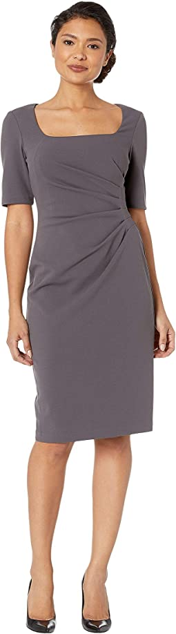 Knit Crepe Sheath Dress w/ Squared Scoop Neckline