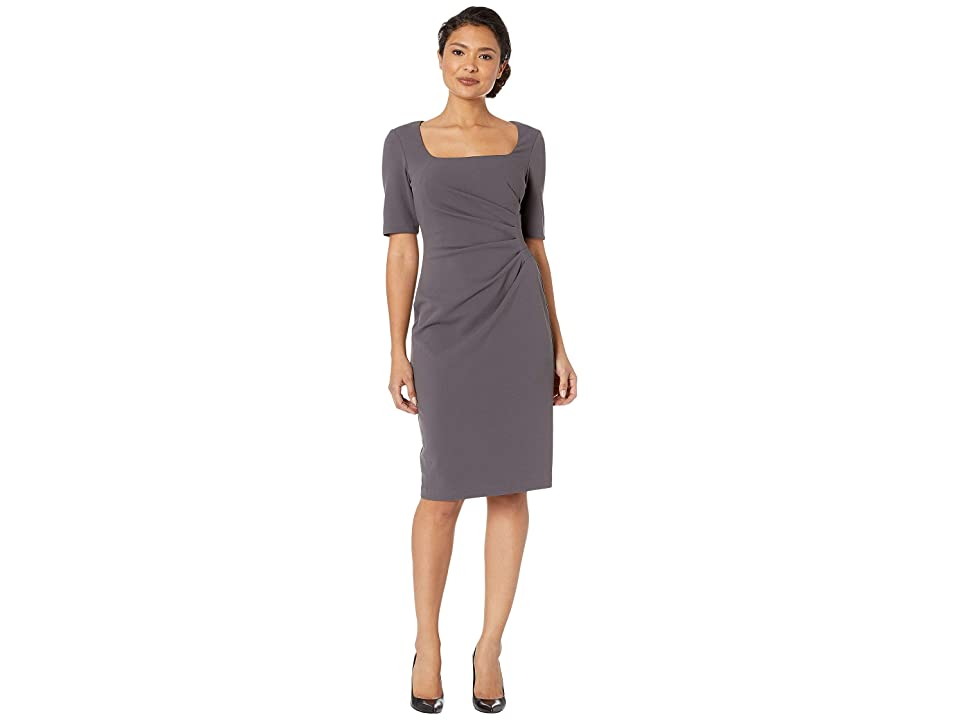 Adrianna Papell Knit Crepe Sheath Dress w/ Squared Scoop Neckline (Gunmetal) Women