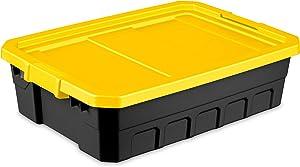 3 Sterilite 10 Gallon Black W/Silver Handles Storage Container Latch Tote Organizer Bin - Sleek Design For Under The Bed Or Tight Spaces