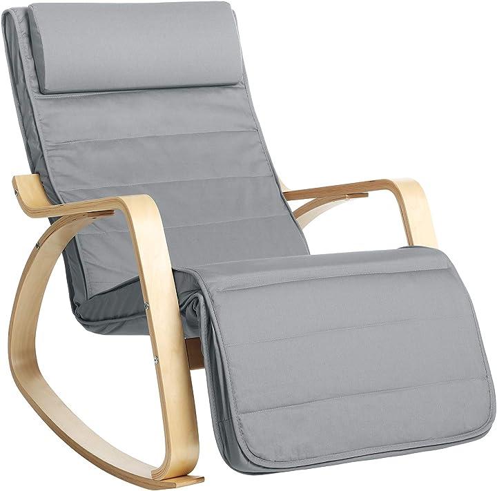 Sedia a dondolo con braccioli in legno di betulla  max portata 150 kg songmics B087C6K83H