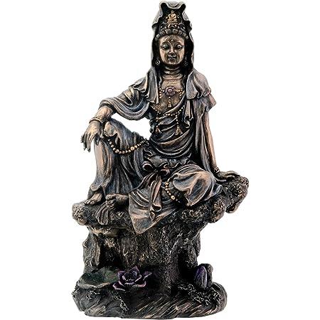 """7.1/"""" China Wood Carved Buddhism Water Moon Kwan-yin Guan Yin Kuan-Yin Statue水月观音"""