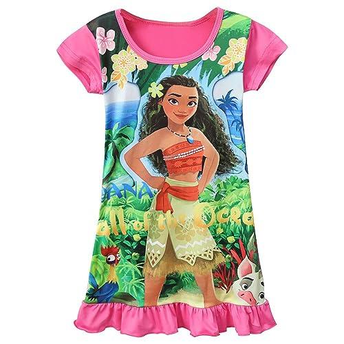 96f80f8f7e5671 AOVCLKID Moana Comfy Loose Fit Pajamas Girls Printed Princess Dress