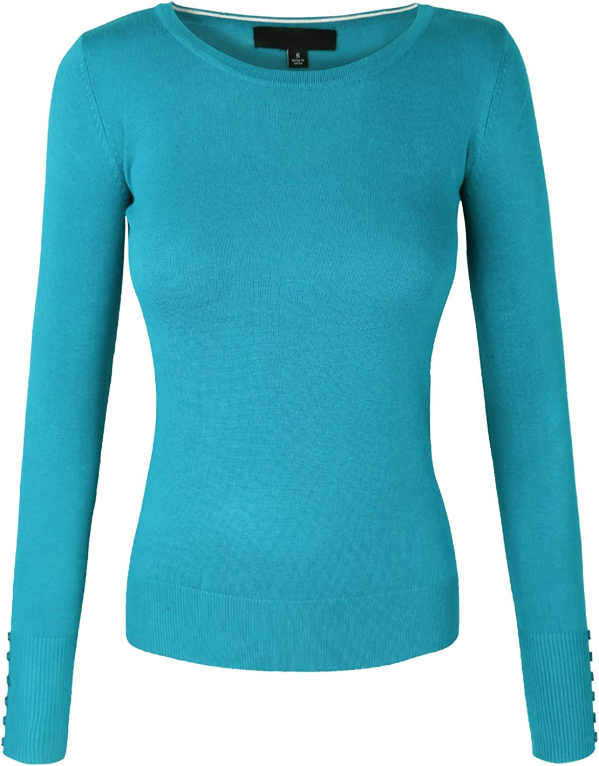 Makeitmint Women's Solid Round Neck Soft Knit Sweater w  Button Sleeve [SXL]