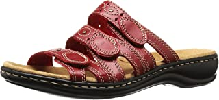 CLARKS Women's Leisa Cacti Slide Sandal, Red Leather, 8.5 W US