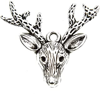 Monrocco 100 Pcs Antique Silver Alloy Metal Deer Head Charms Deer Antler Stag Charms Pendants Bulk for Bracelets Jewelry Making