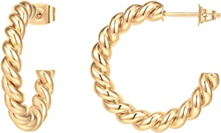 PAVOI 14K Gold Plated 925 Sterling Silver Twisted Rope Round Hoop Earrings in Rose Gold, White Gold and Yellow Gold