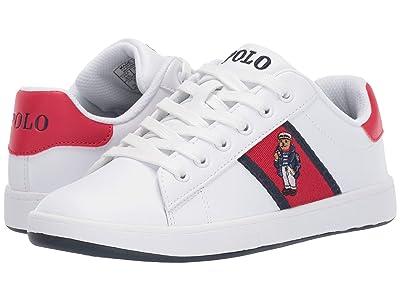Polo Ralph Lauren Kids Quilton Bear (Big Kid) (White Leather/Navy/Light Pink Striping/Marseilles Bear) Girl