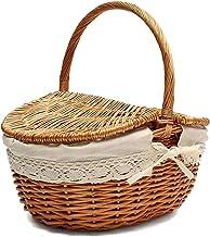 Kwaliteits opbergmand Handgemaakte rieten mand met handvat, rieten camping picknickmand met dubbele deksels, winkelopslag ...