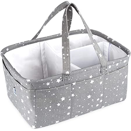 Dark Grey Newborn Essentials Baby Shower Gifts MCUILEE Nappy Caddy Organiser Baby Box Storage Portable Car Organizer,Nursery Storage Bin with Changeable Compartments for Diapers