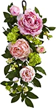 Nearly Natural 4540 24in. Mixed Peony & Hydrangea Teardrop Garlands, Pink