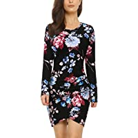 Mixfeer Womens Floral Print Long Sleeve Dress