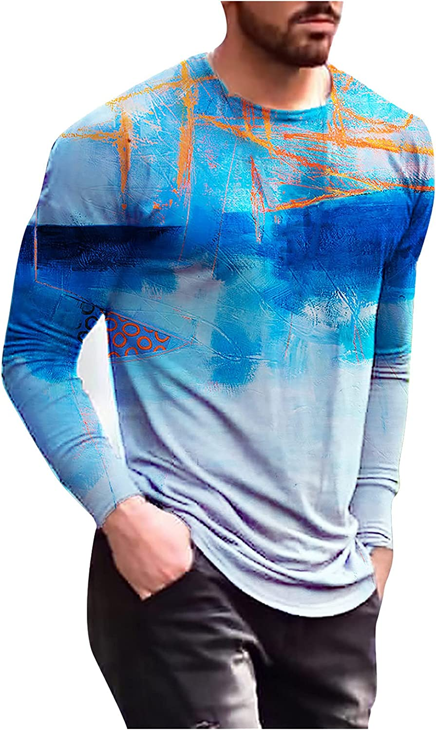 Aayomet Men's T Shirts Vintage Graphic Long Sleeve Slim Fit T-Shirt Casual Beach Sport Athletic Workout Tee Shirts Tops