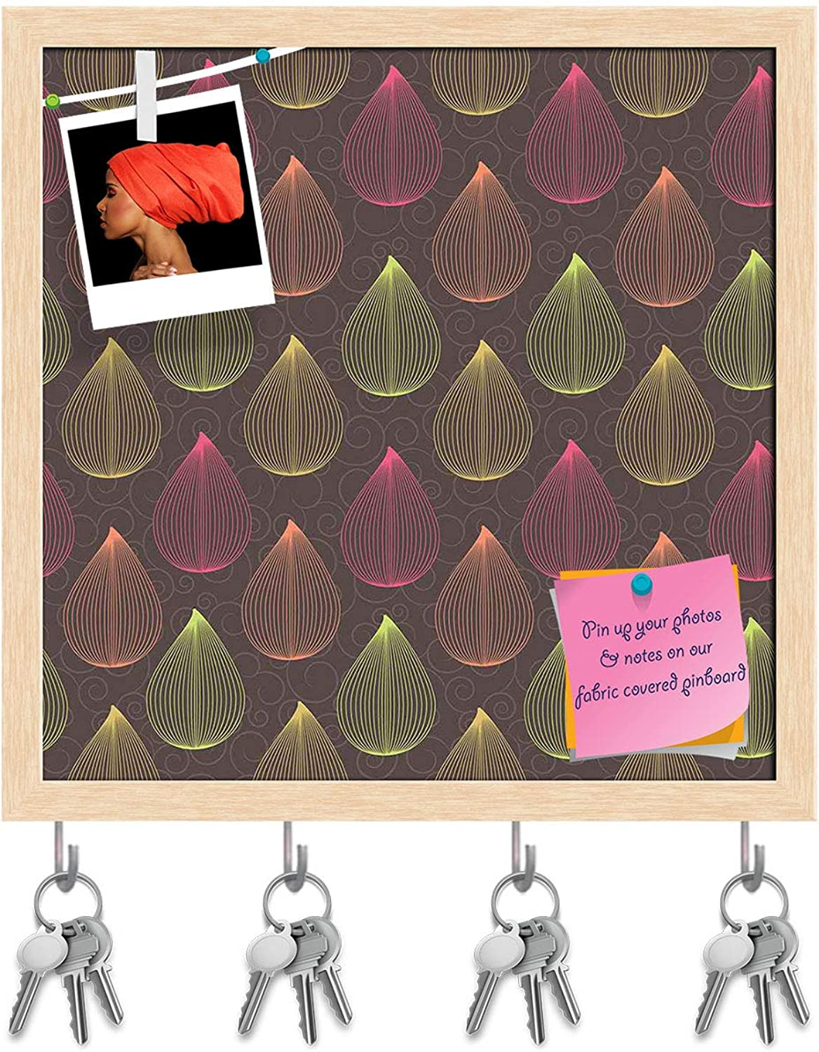Artzfolio colors Curls Key Holder Hooks   Notice Pin Board   Natural Brown Frame 20 X 20Inch
