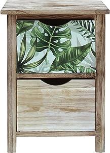 Rebecca Mobili Cassettiera Comodino Legno Marrone Verde Stile Moderno Camera da Letto Arredamento Casa - 51x34x27 (H x L x P) - Art. RE6130