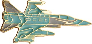 Knighthood Turquoise Fighter Jet Aircraft Lapel Pin Badge Coat Suit Jacket Wedding Gift Party Shirt Collar Accessories Brooch