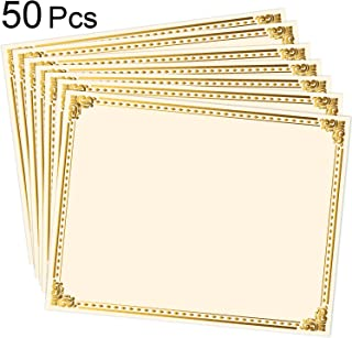 50 Sheets Certificate Paper Gold Foil Metallic Border Blank Award Certificate for Recognition Appreciation, Laser and Inkjet Printer Compatible, 11 x 8.5 Inches