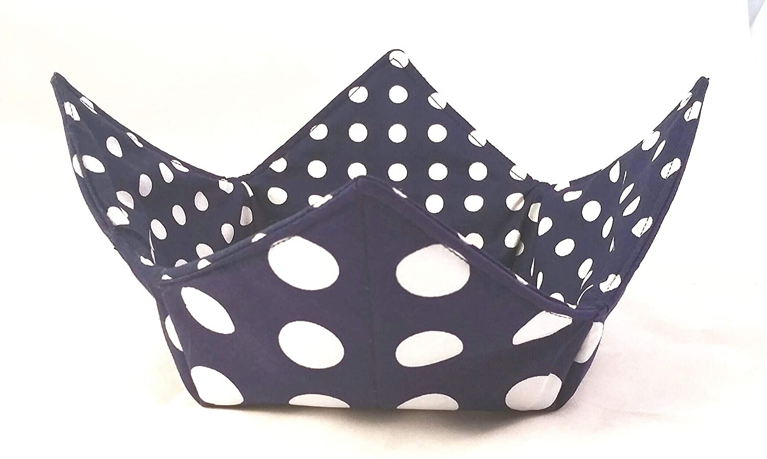Microwave Bowl Cozy Large Small Reversible OFFicial mail Special Campaign order Navy WhiteDots Handma