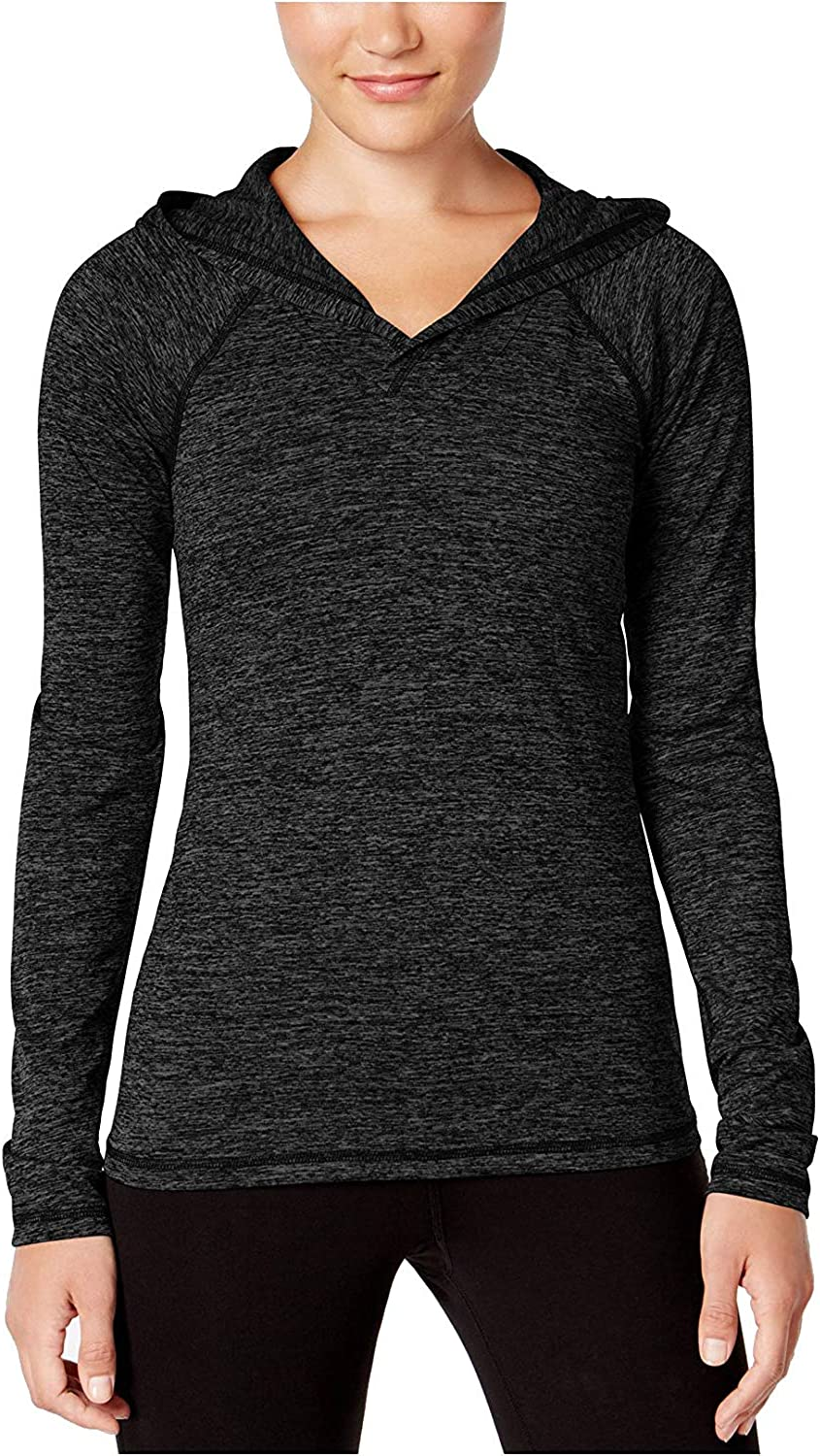 Ideology Women's Rapidry Heathered Performance Hooded Top Black Large