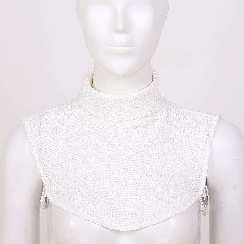 inhzoy Frauen Kinder Abnehmbarer Kragen Rollkragen Hälfte Shirt Bluse Top Einsatz Kragen Baumwolle Warm Weiß_e