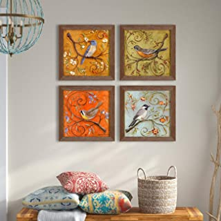 Floral & Birds Theme Framed Painting/Posters for Room Decoration, Set of 4 Brown Frame UV Textured Art Prints/Posters for ...